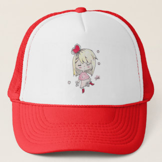 lValentine's Day print of love sick chibi girl Trucker Hat