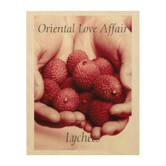 Lychees Exotic Oriental Fruit Photograph Wood Wall Decor