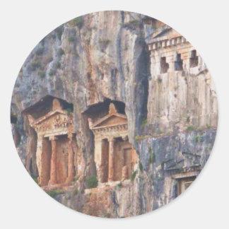 LYCIAN ROCK TOMBS TURKEY CLASSIC ROUND STICKER