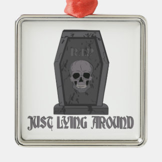 Lying Around Silver-Colored Square Ornament