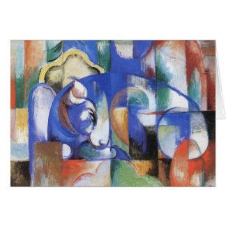 Lying Bull by Franz Marc, Vintage Cubism Art Card