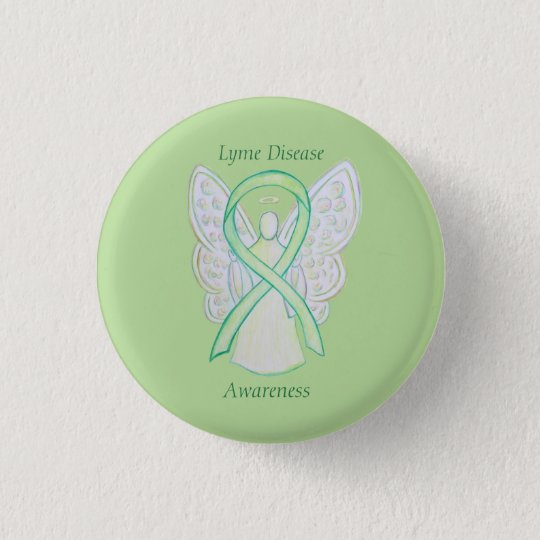 Lyme Disease Awareness Angel Ribbon Custom Art Pin