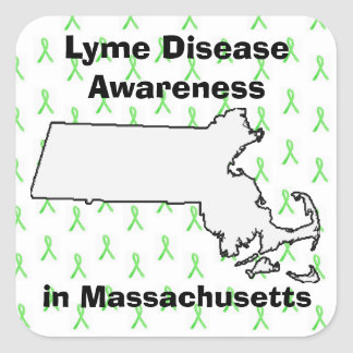 Lyme Disease Awareness in Massachusetts Square Sticker
