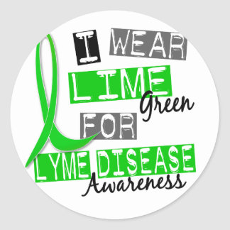 Lyme Disease I Wear Lime Green For Awareness 37 Round Sticker