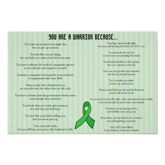 Lyme Warrior Poem, Poster