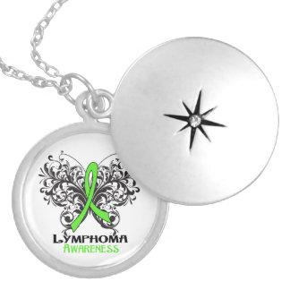 Lymphoma Flourish Butterfly Ribbon Pendant