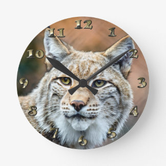 Lynx Bobcat Wildlife Predator Cat Round Clock