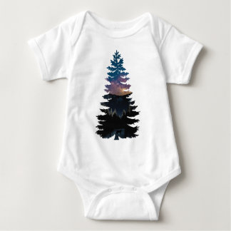 Lynx in the Pines under a Starry Night Baby Bodysuit