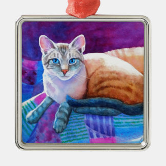 Lynx Point Siamese Cats Metal Ornament