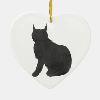 Lynx Silhouette Ceramic Ornament