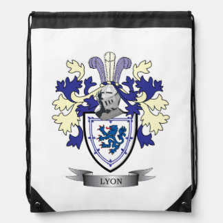 Lyon Family Crest Coat of Arms Drawstring Bag