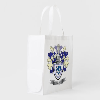 Lyon Family Crest Coat of Arms Reusable Grocery Bag
