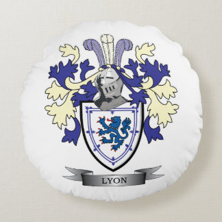Lyon Family Crest Coat of Arms Round Pillow