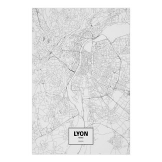 Lyon, France (black on white) Poster