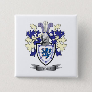 Lyons Family Crest Coat of Arms 2 Inch Square Button