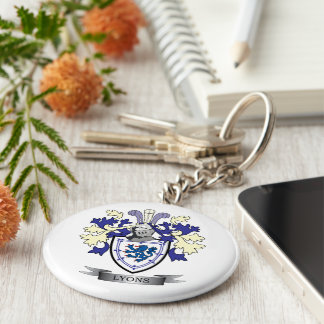 Lyons Family Crest Coat of Arms Keychain