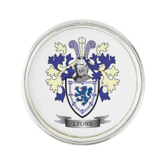 Lyons Family Crest Coat of Arms Lapel Pin