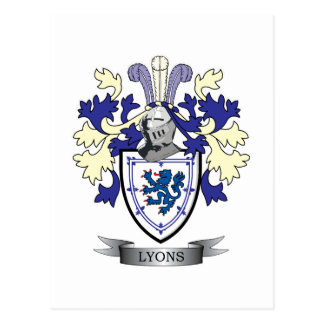 Lyons Family Crest Coat of Arms Postcard