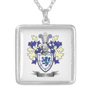 Lyons Family Crest Coat of Arms Silver Plated Necklace