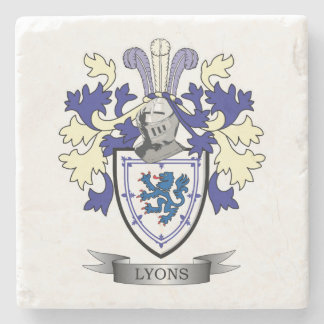 Lyons Family Crest Coat of Arms Stone Coaster