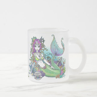 """Lyra"" Tropical Mermaid Art Frosty Glass Mug"