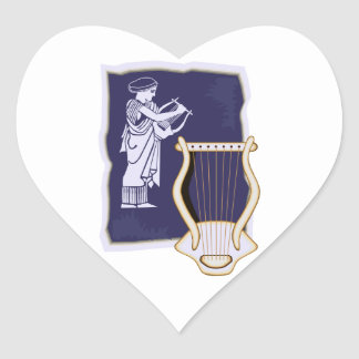 Lyre Greek With Figure Painting Harp design Heart Sticker