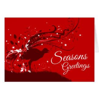 Lyrebird festive red Australian Christmas card