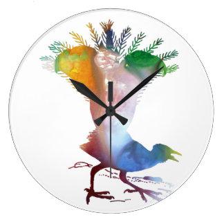 Lyrebird Large Clock