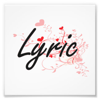Lyric Artistic Name Design with Hearts Photographic Print