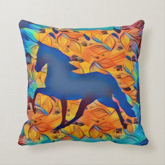 Lyrical Abstraction Horse Throw Pillow