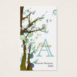 Lyrical Trees Monogram Personalized Business Cards