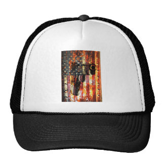 M1911 Silhouette On Rusted American Flag Trucker Hat