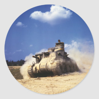 M3 Lee Tank in Training Exercises at Fort Knox Classic Round Sticker