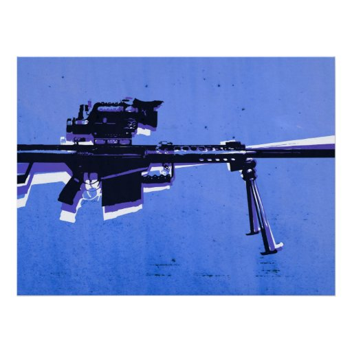 M82 Sniper Rifle on Blue Posters