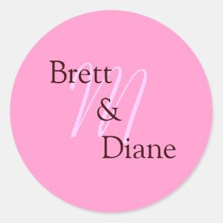 M, Brett       &               Diane Round Sticker
