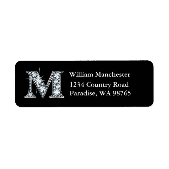 """M"" Diamond Bling Monogram Return Address Label"