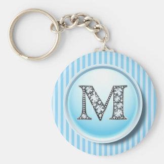 """M"" Diamond Bling on Vintage Blue Circle Frame Key Basic Round Button Keychain"
