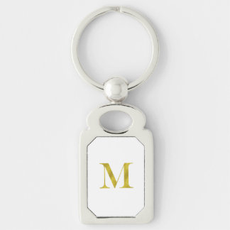 M Engravers Monogram Gold Faux Glitter Template Keychain