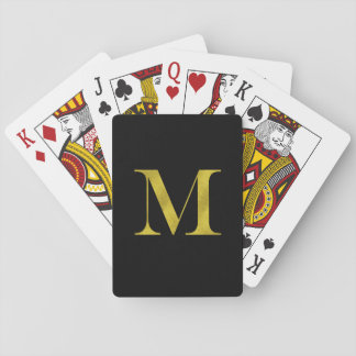 M Engravers Monogram Gold Faux Glitter Template Playing Cards