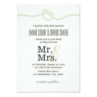 M. et Mme blancs ens ivoire Tying le mariage de Carton D'invitation 12,7 Cm X 17,78 Cm