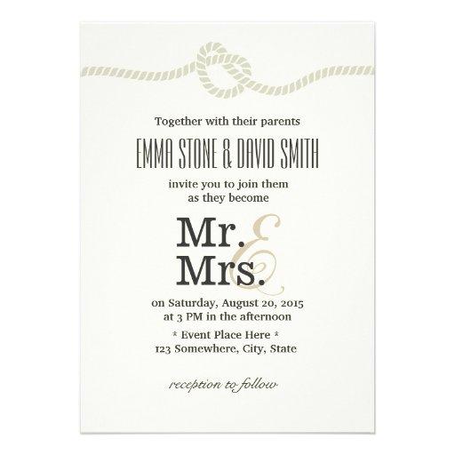 M. et Mme blancs ens ivoire Tying le mariage de Cartons D'invitation
