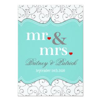 M. et Mme Blue Wedding Invitations