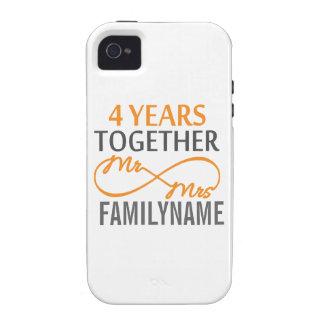 M et Mme faits sur commande 4ème anniversaire Étui Vibe iPhone 4