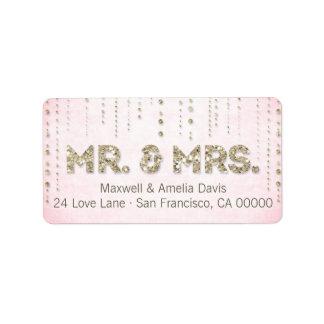 M. et Mme Labels de regard de scintillement d'or Étiquette D'adresse