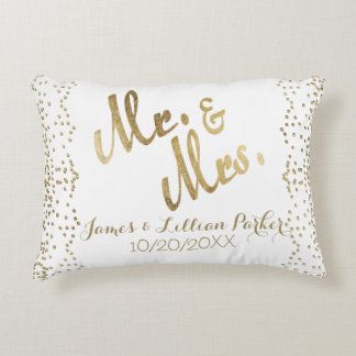 M. et Mme Monogram Wedding d'or de Faux Coussins Décoratifs