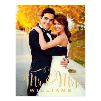 M. et Mme Script d'or des cartes de note de photo Cartes Postales