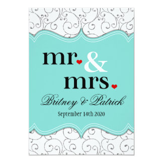 M. et Mme Tiffany Blue Wedding Invitations