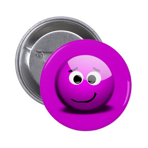 M_Face-1_Vector_Clipart PURPLE HAPPY FACE funny Pinback Buttons