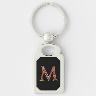 "M Faux-""Ruby Bling"" Monogram Silver-Colored Rectangle Keychain"