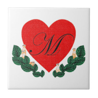 M in a heart tile